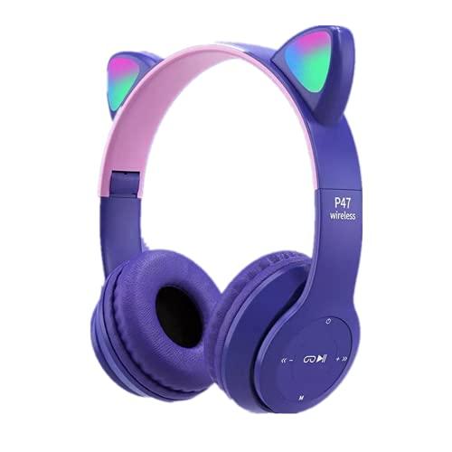 Auriculares inalámbricos con orejas de gato, auriculares plegables con luz LED, micrófono para aprender a distancia en línea, lindo anime gamer, cómodo y plegable