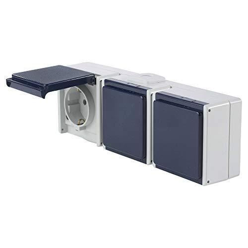 as - Schwabe Aufputz Steckdose 3-fach mit 2 Leitungseinführungen für Feucht-Raum und Außen-Bereich IP54 – hellgrau / blau – Made in Germany I 62464
