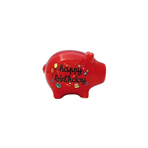 DECO and DES MOTS - TIRELIRE COCHON - Cagnotte anniversaire Happy Birthday rouge