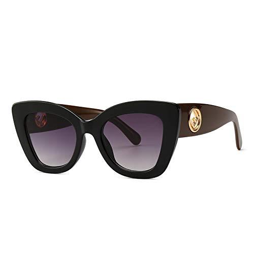 YANPAN Moda Personalidad Europea Y Americana Gafas De Sol Retro Tendencia Tiro Callejero Ojo De Gato Gafas De Sol Estrechas C6 Patas De Café Marco Negro