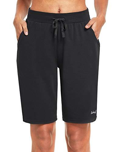 BALEAF Women's 10' Bermuda Long Shorts Cotton Lounge Exercise Gym Workout Yoga Sweat Knit Jersey Shorts Pockets Black M