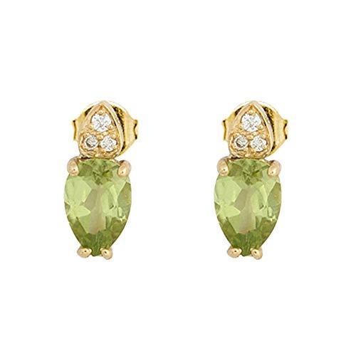 Pendientes oro 18k colección Praga 9mm. diamantes brillantes 0.022ct. peridoto olivina