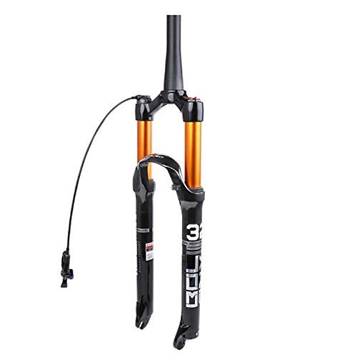 SLRMKK Forcella Ammortizzata per Bici, Forcella Anteriore MTB, Ammortizzatore per Bicicletta 26 27,5 29 Pollici Tubo Conico Telecomando Blocco Corsa 120 mm, 26 Pollici