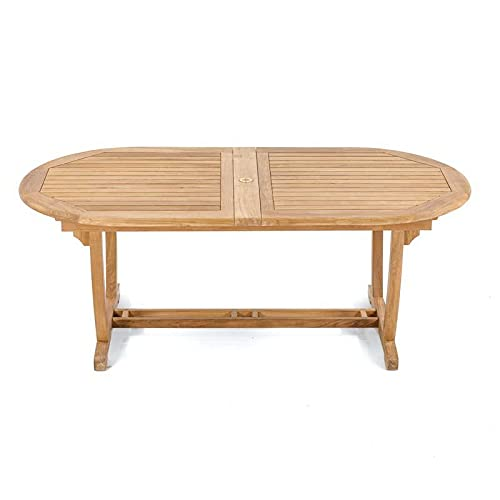 Double extendable Table | Teakwood Dining Table | Ideal for Outdoor Garden Furniture (Table Only)