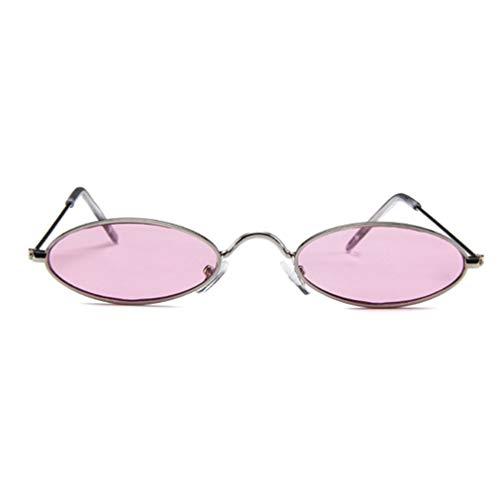 Nrew Gafas de Sol de Metal Montura pequeña Gafas de Sol de Moda Gafas ovaladas Gafas de Sol Plata y Rosa Montura Plateada y Cristal Rosa Ovalado