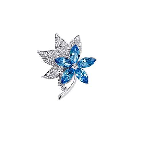 ZWSHOP Broche de trébol de cuatro hojas, Elemento de cristal, Azul, Bisutería, Caja de regalo 4.8x4.3cm (Color : Sky blue)