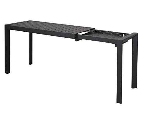 Chicreat - Mesa extensible de aluminio, 127-165 x 57 x 71,5cm (negro)