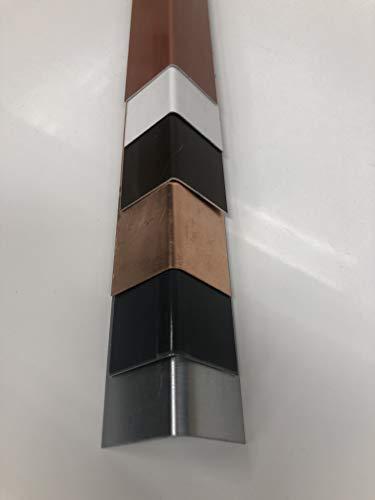 Winkelblech 2 m lang Alu Natur +farbig 0,8 mm + Titanzink 0,7mm Zuschnitt 15 cm (Alu Anthrazit RAL 7016, Kantung 75/75mm)