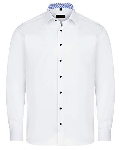 eterna Herren Langarm Hemd Weiß Modern Fit Bügelfrei Kentkragen Knitterfrei 100% Baumwolle Patch (44, Weiß)