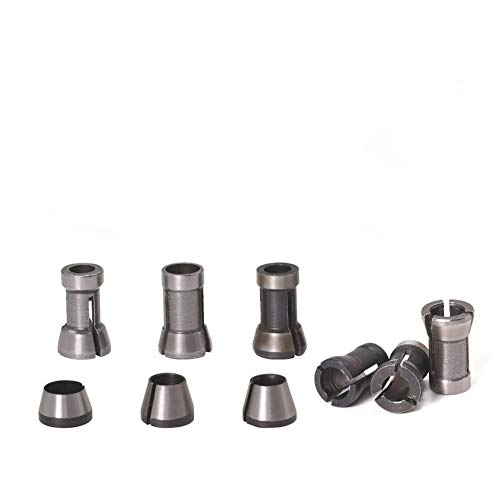 A-XINTONG Various Die Grinder Collet Set 6mm 6.35mm 8mm Collet Chuck Engraving Trimming Machine Electric Router For Machinery Manufacturing Woodworking Milling Cutter Accessories (AB)