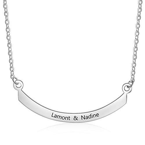 Grand Made Collar Personalizado Grabado con Nombre de Collar de Acero Inoxidable - Personalizado con su Nombre, Cualquier Nombre para Mujer