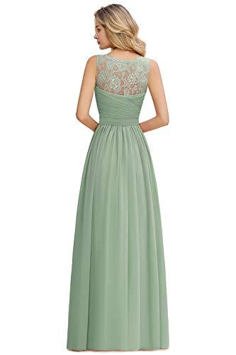 MisShow Damen elegant Chiffon Abendkleider Maxilang Ballkleider Spizten Abiballkleider Grün 42