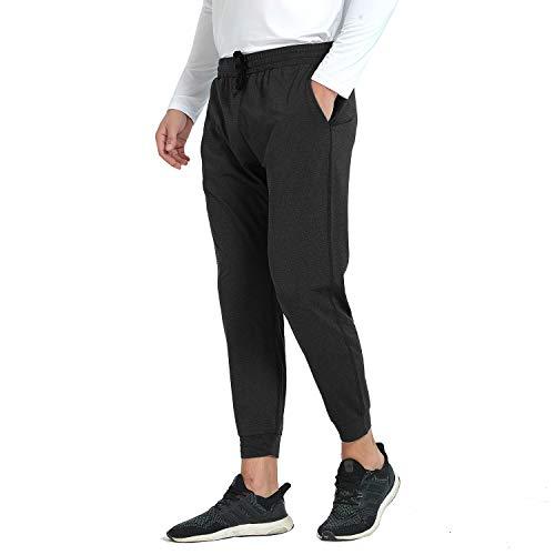 Herren Jogginghose Dünn Trainingshose mit Taschen für Sport Fitness (Schwarz L)