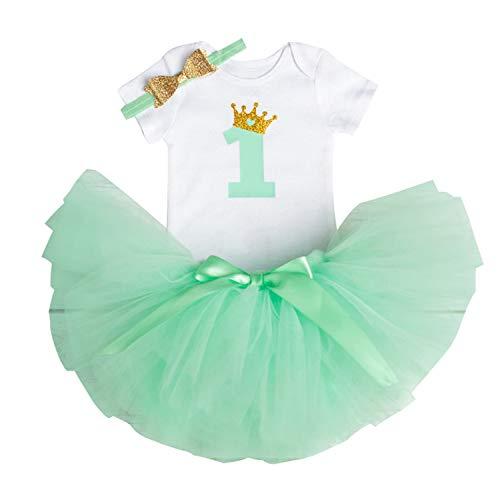 TTYAOVO Bebé Niña 1er cumpleaños 3pcs Conjuntos con Diadema de Unicornio y Mameluco y Faldas 1 Años 14 Verde