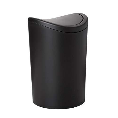 Tatay Papelera Baño con Tapa Basculante, 6L de Capacidad, de Polipropileno, Libre de BPA, Color Negro, Medidas 19 x 19 x 28 cm