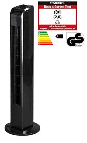 JUNG TVE22 Ventilator 76cm schwarz - TÜV geprüft, Leise Turm-lüfter Lautstärke max 48dbA, Turmventilator ENERGIESPAREND 0,05 kW/h,3 Stufen, 75° Oszillierend Drehend