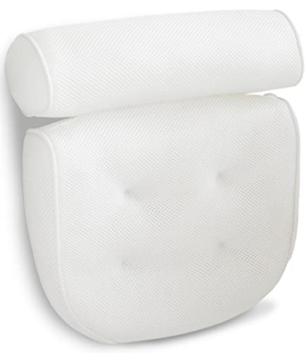 Luxurious Bath Pillow Non-Slip and Extra Thick with Head, Neck, Shoulder and Back Support. Soft and Large 14x13x4 Inches for The Ultimate Bathtub Relaxation Experience. Fits Any Tub