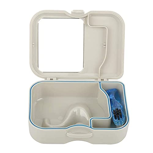 ZJWAI Healifty Caja de la Dentadura Caja Protector de Boca Dientes, Caja de Dentaduras Postizas, Caja de Almacenamiento con Espejo, Estuche de Dentadura Portátil