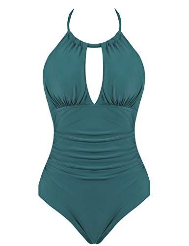 Joyaria Womens Halter Slimming One Piece Swimsuits Ruched Tummy Control Bathing Suit Monokini Swimwear (Green, XL)