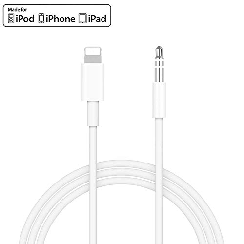 [Apple MFi Certified] iPhone Aux Cord for Car, Lightning to 3.5mm Audio Stereo Cable Compatible for iPhone 11/11 Pro/XS/XR/X 8 7 6/iPad, iPod to Car Stereo, Speaker, Headphone, Support iOS 13 (White)