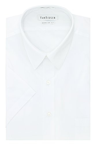 Van Heusen Men's Dress Shirts Short Sleeve Poplin Solid, White, 18.5