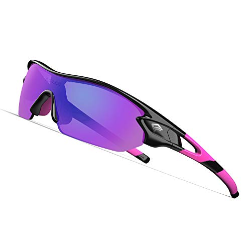 TOREGE Polarized Sports Sunglasses with 3 Interchangeable Lenes for Men Women Cycling Running Driving Fishing Golf Baseball Glasses TR02 (Black&Pink&Pink Lens)