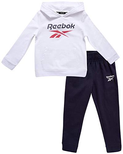 Reebok Baby Boy?s Tracksuit ? Athletic Fleece Sweatshirt and Jogger Sweatpants Playsuit Set (Infant/Toddler), Size 4T, White/Navy