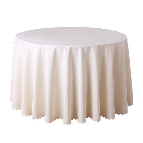Uteruik Mantel Mesa Camilla Redonda Cubierta de Poliéster Mantel para el Banquete de Boda del Cumpleaños Mantel Multifuncional (Beige 160cm), 1 Unidad (MC-#q)