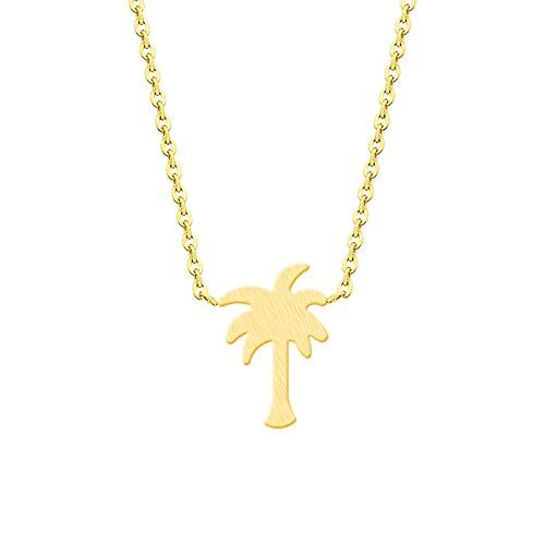 Naswi Collar de árbol de Coco de Acero Inoxidable para niños, Collar con Colgante de Plantas de Color Dorado y Plateado, joyería de Moda