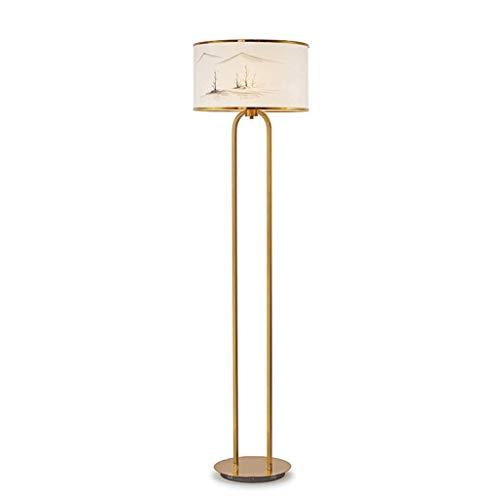 FGVBC Lámpara de pie Lámpara de pie Papel de arroz Chino Diseño de Pintura de Paisaje Lámpara de Acero Inoxidable Sala de Estar Dormitorio Estudio Lámpara de pie Luz de Piso (Color: A)
