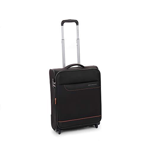Roncato Jazz trolley bagaglio a mano espandibile nero, perfetto per voli low cost, Misura: 55x40x20/23 cm, 42/48 Litri, 2.2 Kg, 2 ruote