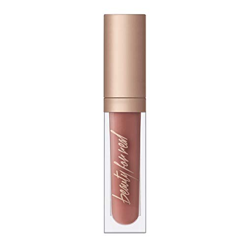 Beauty For Real Lip Gloss + Shine, Nudist - Beige Nude Pink - Non-Sticky Plumping & Hydrating Gloss - Light & Mirror In Cap - Contains Marine Collagen - 0.15 fl oz