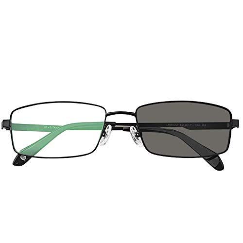 GJJSZ Lesebrille Damen und Herren,Ultraleichte Progressive Lesebrille,asphärische Gleitsichtbrille aus reinem Titan Rahmen UV-Schutz Multi-Focus Sonnenbrille,Schwarz,+1,5
