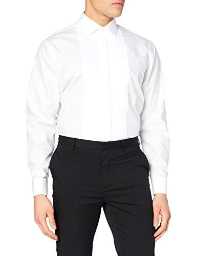 Seidensticker Herren Tailored Langarm mit Kent-Kragen Umschlagmanschette bügelfrei Smokinghemd, Weiß (Weiß 1), 38
