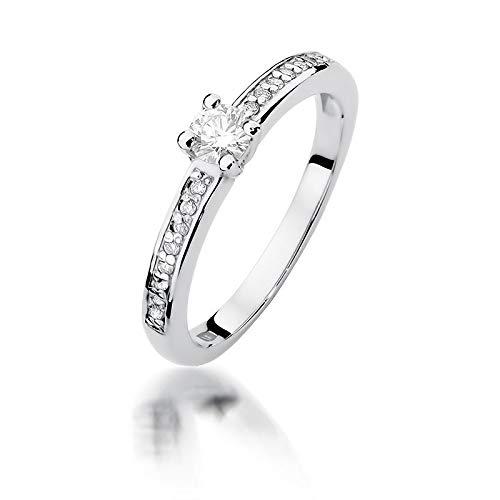 Anillo solitario de compromiso para mujer, oro blanco 585 de 14 quilates, diamante natural
