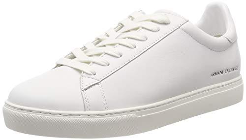 Armani Exchange Męskie sneakersy Lace Up, biały - Biały White 00001-45 EU