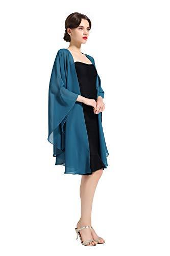 Beautelicate Chiffon-Schal, Brautschmuck, Hochzeit, lange Abendschals, 25 Farben Gr. One size, blaugrün