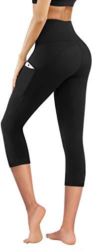 PHISOCKAT High Waist Yoga Pants with Pockets, Tummy Control Leggings for Women, Workout 4 Way Stretch Yoga Capris Leggings (Capris (Black), X-Large)
