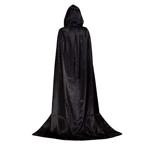 Schwarzer Mantel Erwachsene Halloween Kostüme Kinder Kapuze Nissen Lange Vampir Cosplay Requisiten Party Ausgefallene Kleidung - L