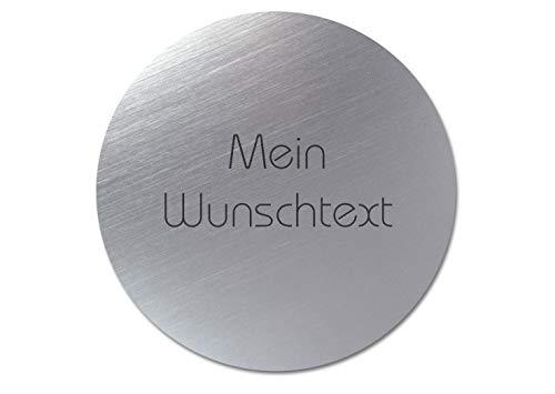 Türschild mit individueller Gravur, Acrylschild silber/schwarz, rund, Ø 50 mm – Gravurschild, Namensschild, Klingelschild