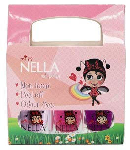 Miss Nella Bundle 3 – Pack 9 zeer glanzend – nagellak voor kinderen op waterbasis, Formula peel off. Bundle 297