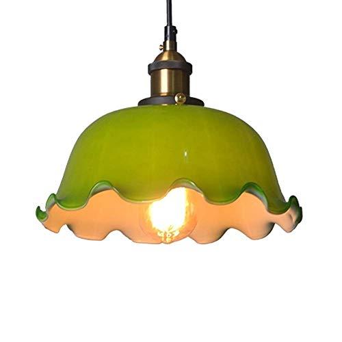 ZCCLCH Lámpara Colgante Verde Ondulada de la lámpara de Cristal de la Vendimia Nostálgico Arte Restaurante Bar Cafe Colgantes Dormitorio lámparas de Noche Retro Industrial E27 Iluminación Colgantes L