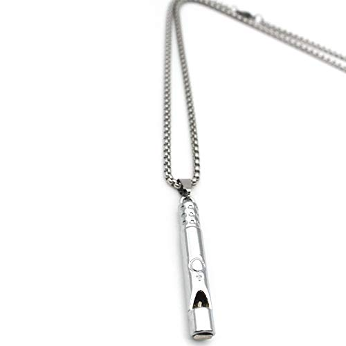 Emergency Survival Whistle Pendant Necklace for Men Women, Titanium Steel Loud Coach Whistle Necklace, Portable Keychain Whistle for Life Saving, Hiking, Camping and Pet Training (Silver)