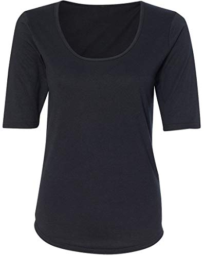 Yoga Clothing For You Ladies Elbow Length Scoop Neck Tee Shirt (X-Large, Black)