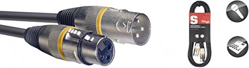 Stagg SMC1YW Cavo microfono con anello giallo, 1m, 3pin, XLR maschio a femmina