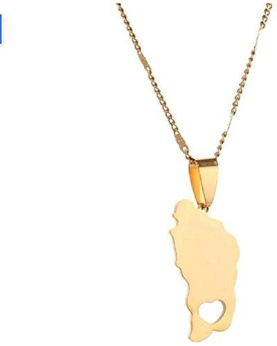 JSYHXYK Halskette Edelstahl Die Commonwealth of Dominica Karte Anhänger Halsketten Gold Farbe Dominikaner Charme Schmuck Geschenke