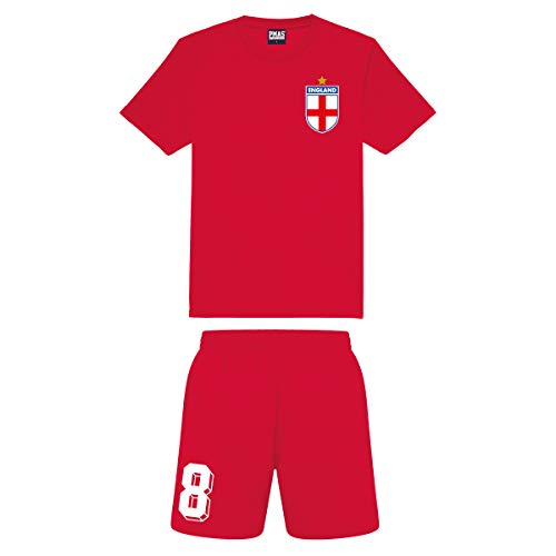 Kids Customisable Red England Style Away Football kit Shirt and Shorts, 5-6 Years