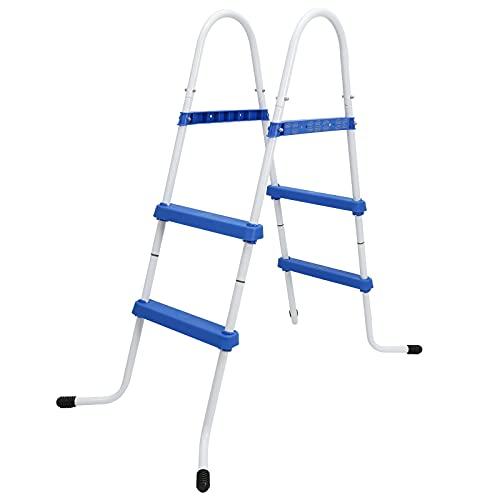 Hengda Poolleiter bis 87cm mit 2 blauen Rutschsichere Stufen Pool Leiter für Viele Arten Pool Swimmingpool
