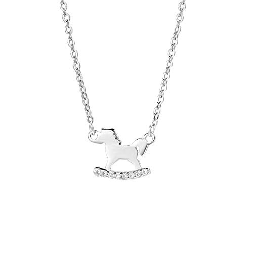 "Dtja Cute Horse Necklace for Women Girls Sterling Silver Crystal Pendant Choker Necklaces Pony Mustang Equestrian for Animal Pet Lover Adjustable Link Chain 18"" Hypoallergenic Birthday"