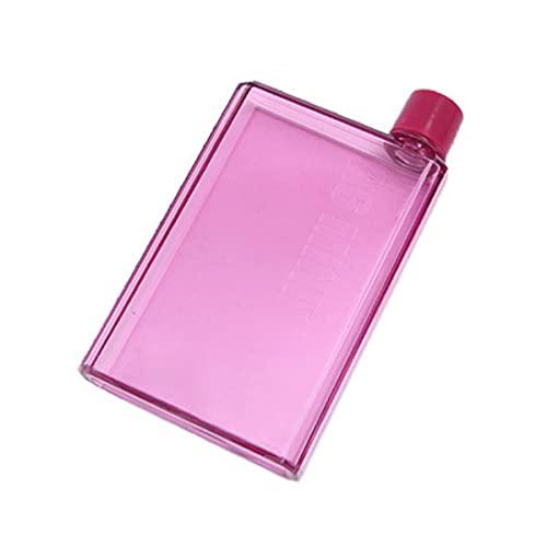 A5 A6 Vaso de papel Botella de agua plana Libro transparente gratuito Almohadilla de papel portátil Botella de agua Bebidas planas Hervidor de agua Botella de cuaderno-Francia, A6-350ML, ROSA